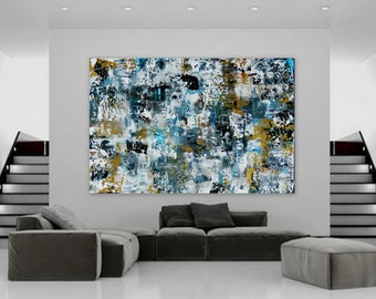 Sample Huge Abstract Modern Contemporary Painting by Marcy Chapman wall art decor extra large enormous big gold navy blue white black XL XXL