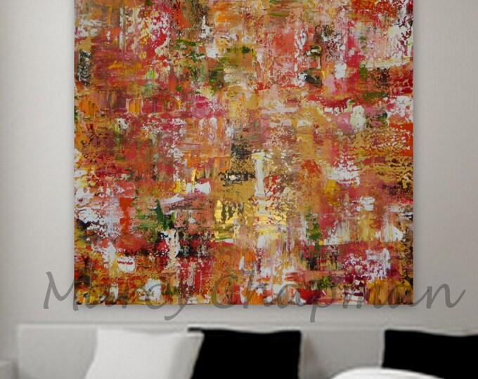 large original abstract orange yellow green gold Large Original Abstract painting Marcy Chapman. gold red orange pink yellow red