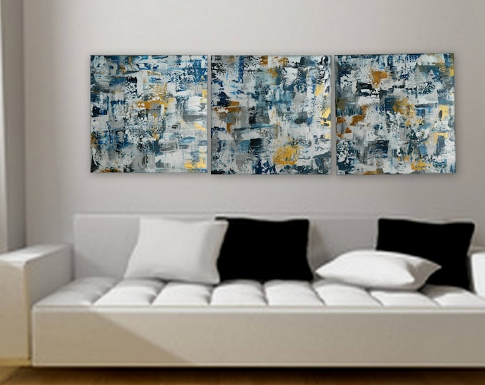 """Custom order 3 panel paintings 24"""" x 24"""" each Large original at wall decor by Marcy Chapman blue silver gold art custom paintings"""
