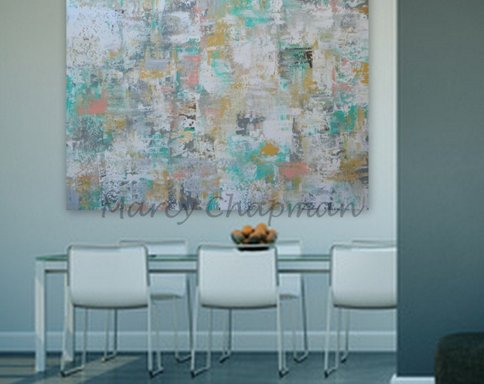 xl abtrsact painting huge large  Original Modern Abstract Painting mint, blue, turquoise yellow blue gray red orange green custom order