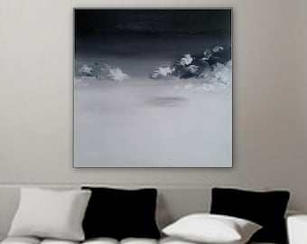 """Large black and white canvas painting clouds on the horizon by Marcy Chapman 36"""" x 36"""" gallery wrapped on wood frame ready to hang wall art"""