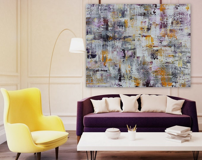 ORIGINAL xl abstract wall art by  Marcy Chapman large modern painting gallery wrapped purple and white origal artwork wall art large