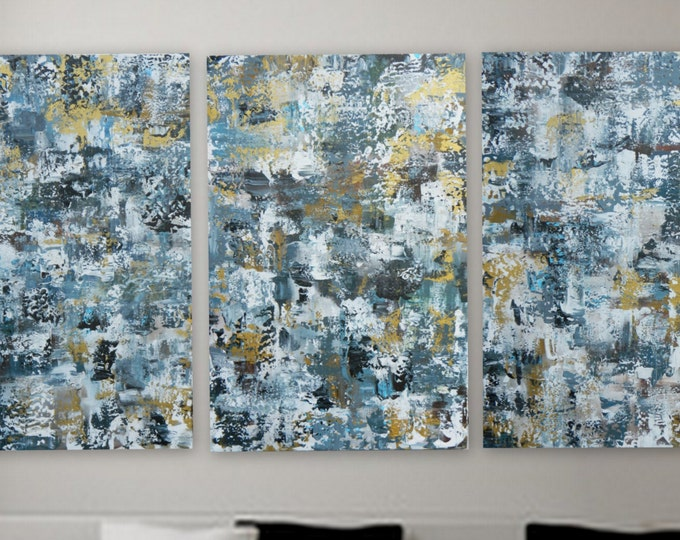 Sample of 3 panel custom order. WAll Art /decor, small, medium, large, xl or huge original abstract modern paintings on canvas framed