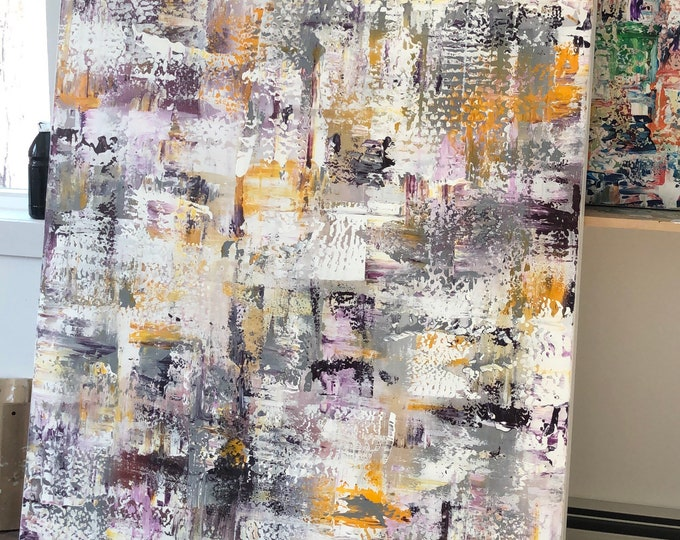 Large original acrylic painting, Marcy chapman in purple and pink tones with yellow, white, abstract textured painting large, xl custom