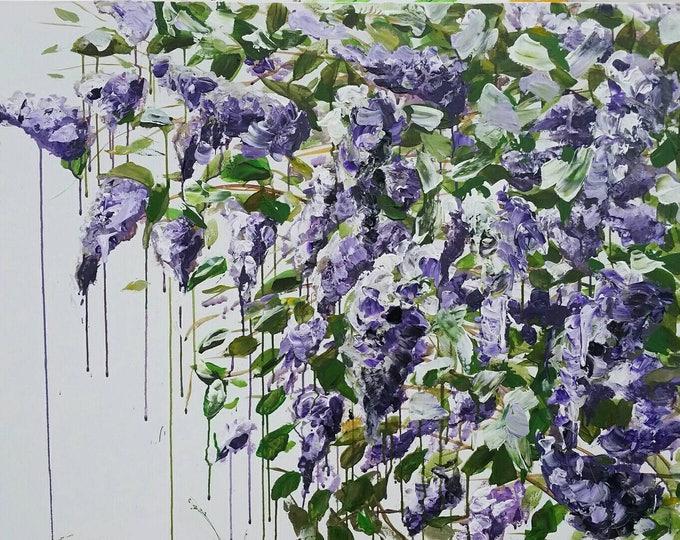 Sample for Custom order Large purple lilac original acrylic painting flower art floral decor wall art large painting  wall art ready to hang