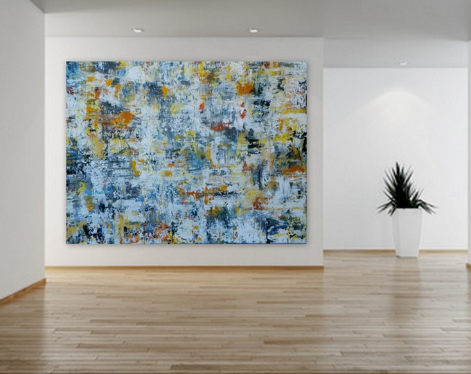 Huge Abstract Modern Contemporary Paintings by Marcy Chapman wall art decor extra large enormous big black yellow gray white orange XL XXL