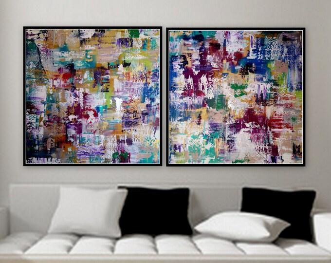 SOLD 2 panel paintings 36 x36 custom order large 2 panel artwork original paintings wall art by Marcy Chapman
