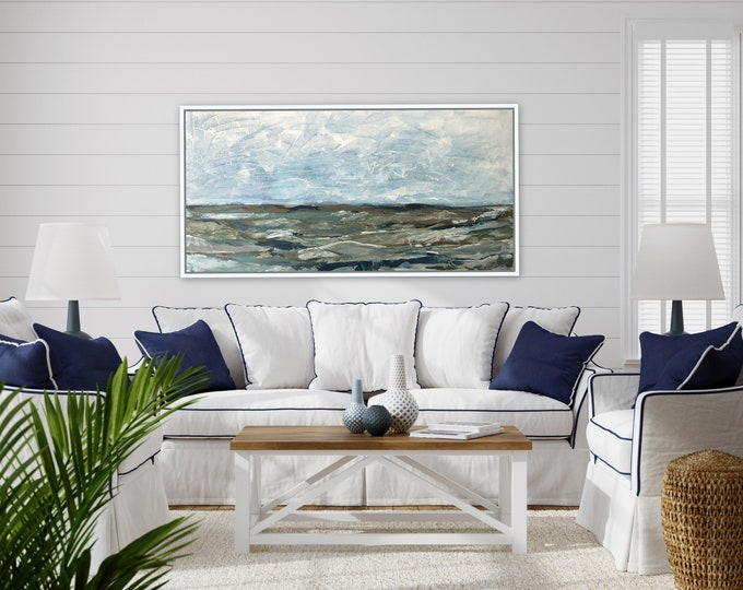 Marcy Chapman's Original, seacoast, nautical, mountain, blue abstract painting, acrylic original ready to hang stretched canvas wall art