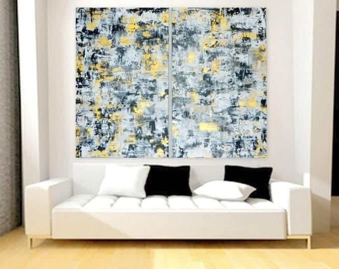 Black, white and gold modern abstract painting large wall art acrylic painting original custom order  Original abstract  painting customized