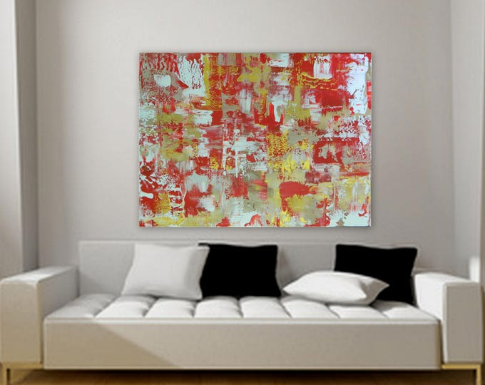 Extra Large abstract painting by Marcy Chapman 48 x 36 in red, gold, tan/ beige, white