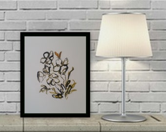 Floral wall art ink painting acrylic painting on paper wall decore original art by Marcy Chapman 9 x11 8 x 10 unmatted