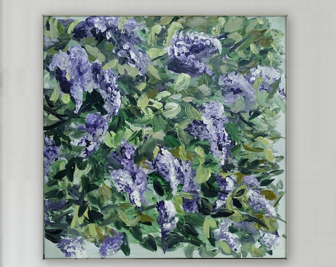 48 x 48 Large Abstract floral painting Lilac painting purple wall art home decore XL painting abstracr painting flowers purple lilacs