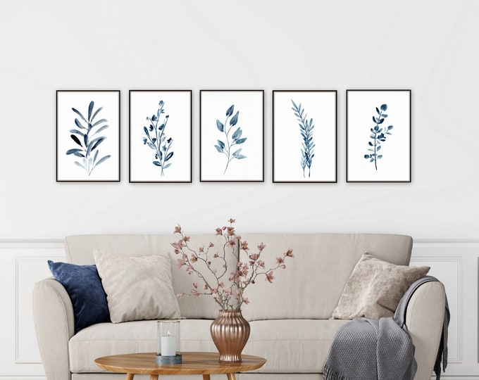 Blue botanical watercolor paintings, giclee prints, farmhouse prints, not digital download, modern farmhouse wall rt