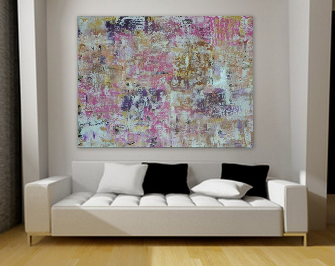"""XL, Huge, Large Original Abstract Painting 46"""" x 34"""" rolled canvas painting by Marcy Chapman Extra Large Painting"""