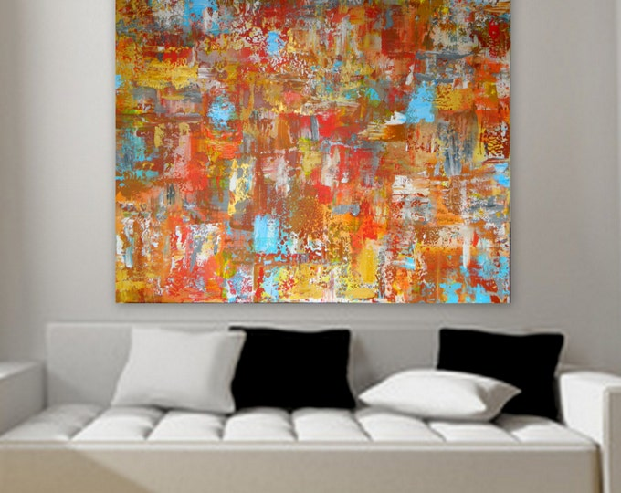 """50"""" x 40"""" original abstract contemporary modern painting on canvas wall art decor orange red yellow blue gray white"""