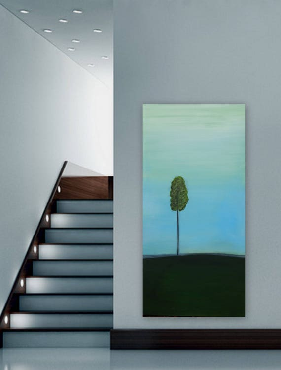 Large original abstract tree painting. One tree minimal painting. shipped ready to hang blue and green painting