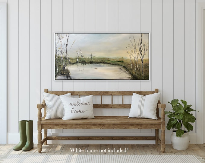 Original Pretty New England fall stretched canvas painting, wall art, Large painting, realism, birch trees  Farmhouse wall art traditional