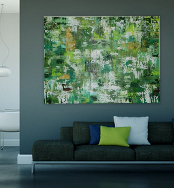Sample Green Original Abstract  Extra Large Painting XL XXL modern art Large huge abstract painting wall art contemporary art  XXL enormous