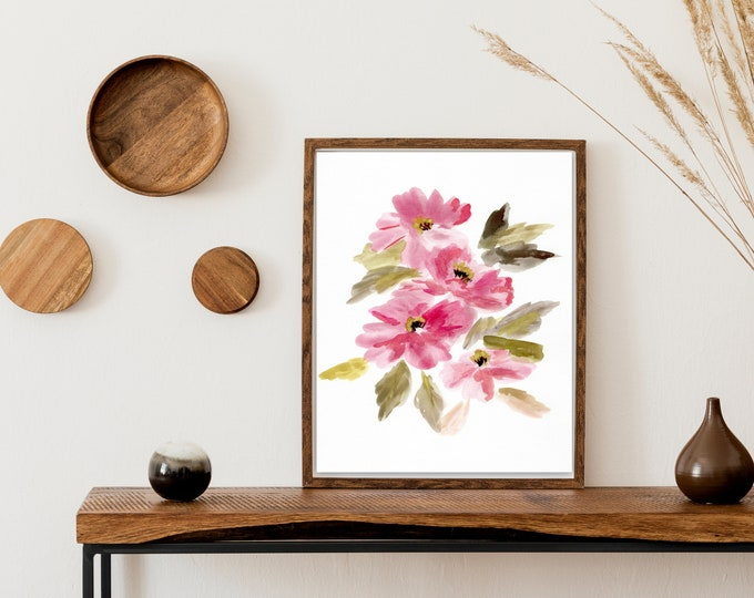 Pretty floral farmhouse print pink flower wall art by Marcy Chapman