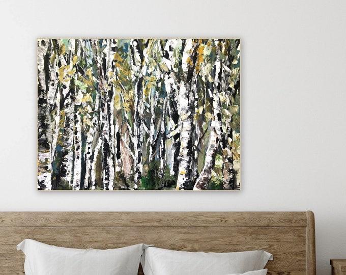 30 x 40 Large birch tree abstarct painting, pretty farmhouse tree wall art green white wall art marcy chapman original contemporary wall art