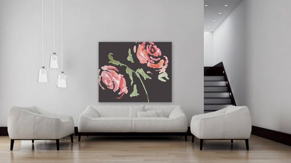 Large Custom order floral painting Flower artwork Pink and black rose painting