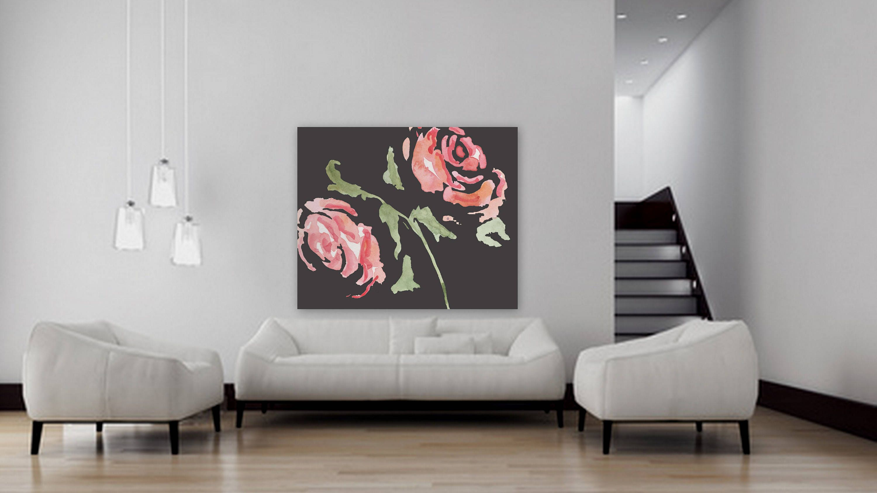 Large Custom Order Floral Painting Flower Artwork Pink And Black