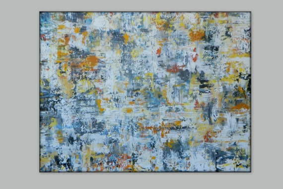 Large abstract painting original artwork wall art canvas painting Wall decor Abstract Painting Yellow abstract gray abstract blue