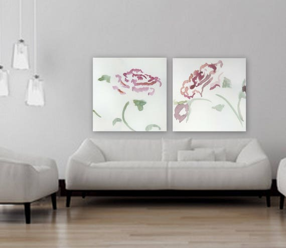 Large Custom order floral painting Flower artwork purple and white rose painting