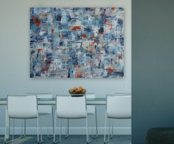 Large abstract painting navy blue orange silver turquoise