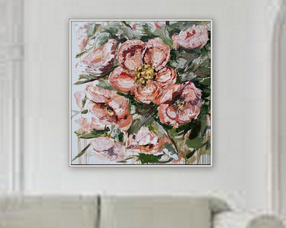 large abstract flower painting peach color flower large Flower painting Blossom semi-realism flower art by Marcy Chapman