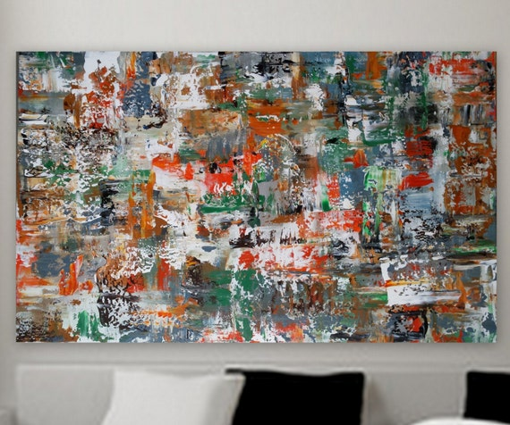 huge wall art Custom Abstract Painting original Extra Large Abstract modern painting wall art decore green orange white bol'shaya kartina