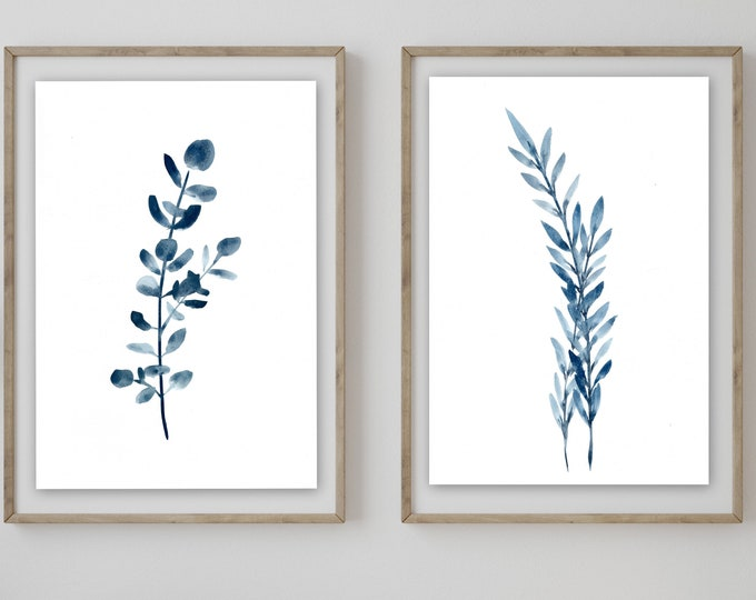 NEW blue botanical living room art prints leaves and eucalyptus prints in navy blue giclee' prints from artist signed prints marcy chapman,