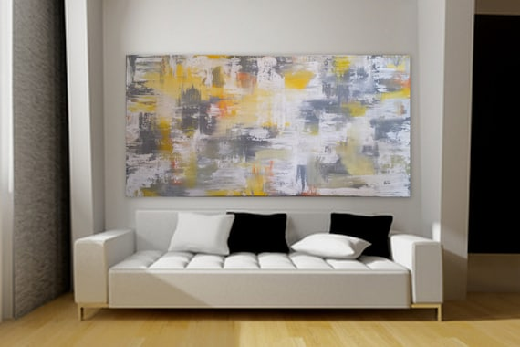 "80"" x 40"" Gray yellow orange white wall art huge abstract painting large painting extra large decor custom order unstretched canvas acrylic"