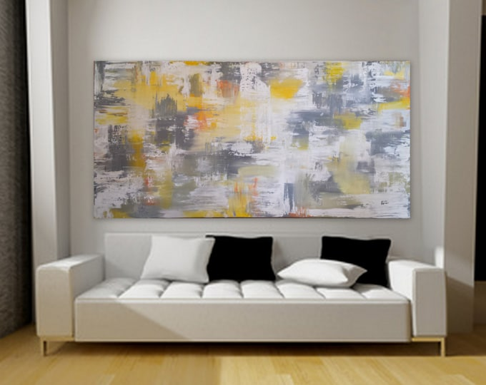 """80"""" x 40"""" Gray yellow orange white wall art huge abstract painting large painting extra large decor custom order unstretched canvas acrylic"""