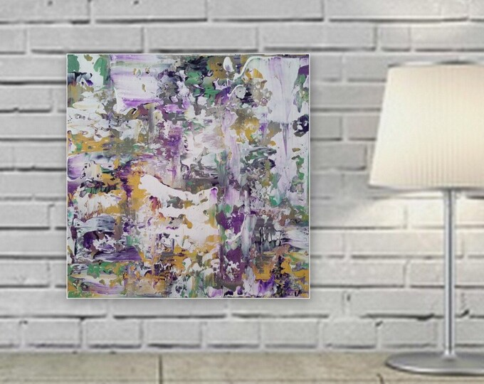 """original abstract modern painting ready to hang """"Comfort"""" gallery wrapped wood frame large abstract painting"""