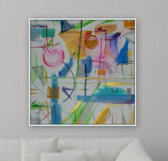 Ready to hang 36 x 36 Blue pink gold yellow abstract cubism modern painting acrylic artwork large wall art by Marcy Chapman original