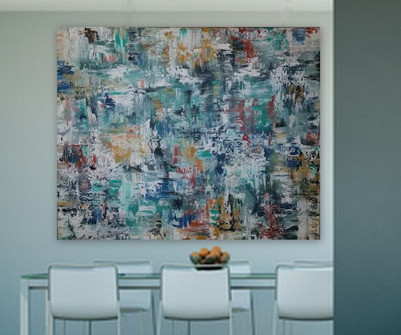 "60"" x 48"" ""Beautiful Coming"" large abstract painting in blue yellow orange rusty xl abstract  large art huge painting xxl original"