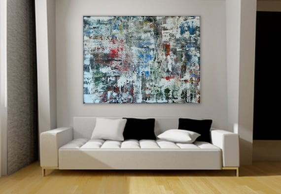 "XL Original Abstract painting by Marcy Chapman  40"" x 30"" large artwork huge wall art wall decore blue red green white"