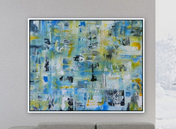 "XL abstract painting by Marcy Chapman large original artwork wall decor 60"" x 48"" huge abstract painting blue yellow black white nautical"