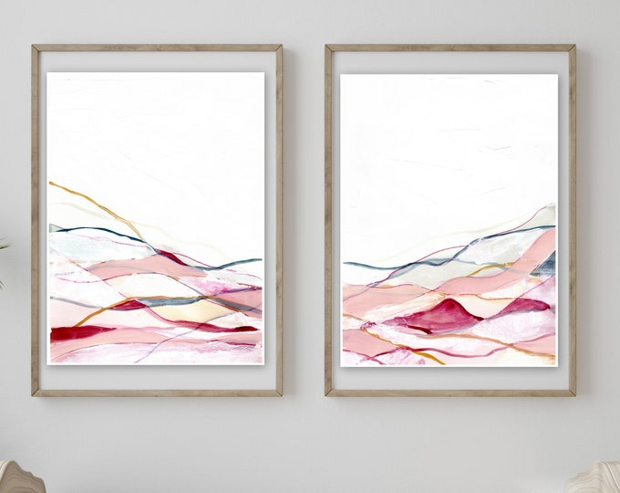 NEW minimal  pink landscape print, set of two, prett abstract print, pint and white, abstract landscape print farmhouse style girly print