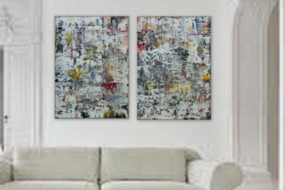 2 panel abstract paintings available by CUSTOM ORDER.large abstract art contemporary art wall art canvas painting acrylic art original