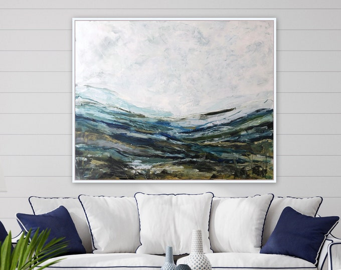 60 x 48 XL huge ORIGINAL abstract painting by Marcy Chapman in blue tones, ocean, mountain, landscape, seascape wall art