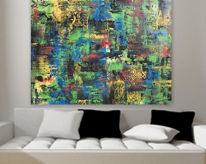 HUGE 60 x 48 original abstract painting bold colors yellow blue green bright abstract painting by Marcy Chapman