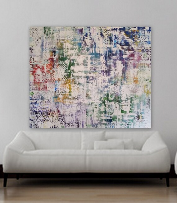 "XL abstract painting XXl abstract original Custom 75"" x 63"" huge abstract painting blue red orange purple pink white. Modern painting large"