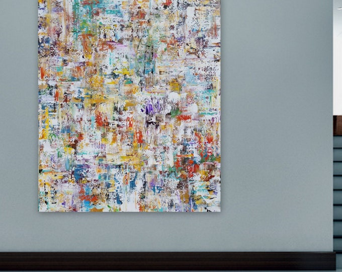 Sold Xl huge original abstract modern painting wall art canvas painting blue gold yellow red green brown black unstretched canvas painting