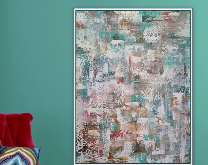 """Large abstract painting original wall art acrylic painting ready to hang turquoise orange brown pink purple 48 x 36 """" Comfortable"""""""
