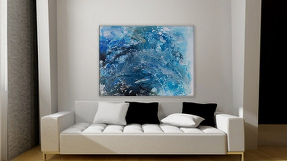 large 30 x 40 abstract ocean, or ocean wave painting blue painting gallery wrapped ready to ship original painting by Marcy Chapman Blue art