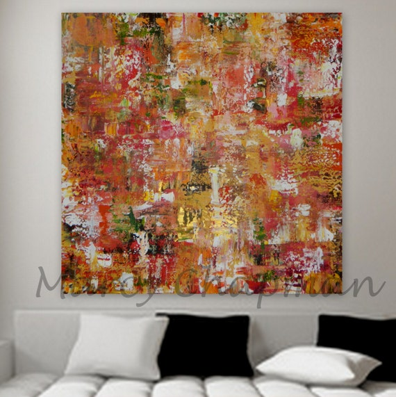large original abstract orange yellow green gold Large Original Abstract painting Marcy Chapman. gold red orange pink yellow red