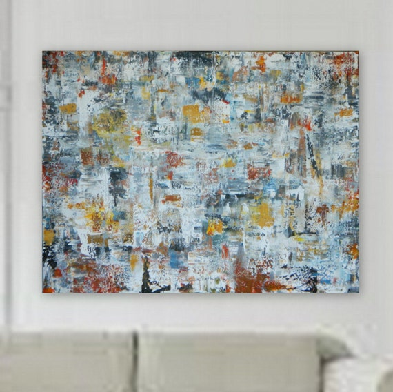 "72"" x 55""  Enormous, XXL, Orignal Large Abstract Painting by Marcy Chapman Canvas Only orange, red, gray, black, blue, yellow"