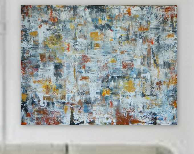 """72"""" x 55""""  Enormous, XXL, Orignal Large Abstract Painting by Marcy Chapman Canvas Only orange, red, gray, black, blue, yellow"""